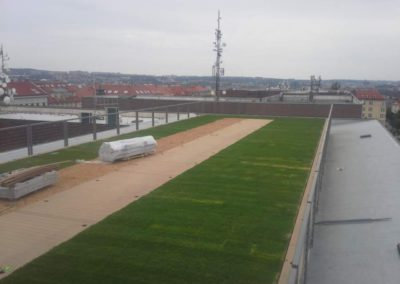 Zelená střecha a pochozí terasa Národní zemědělské muzeum Praha